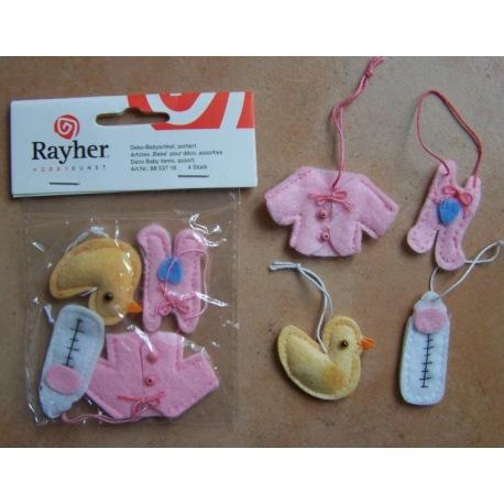 Deko-Babyartikel 4er Set rosa