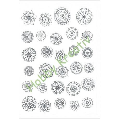Schmuckpapier schwarz-weiße Blüten Download
